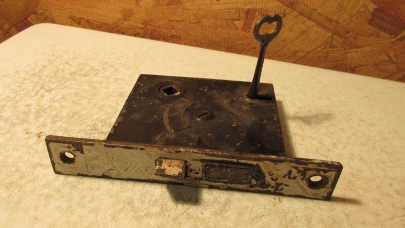 Antique Cast Iron Mortise Lock & Key  No. 5  Eastlake