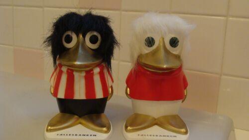 Vintage Sets Of 2 BIRD/CROW Girl & Boy Money Box With Original Key Made Finland