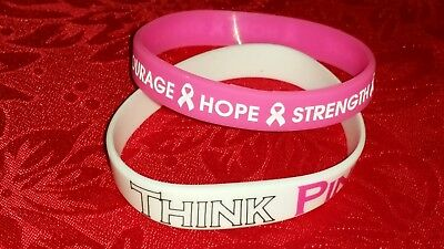 BREAST CANCER AWARENESS SILICONE BRACELET - HOPE - STRENGTH - COURAGE - RIBBON