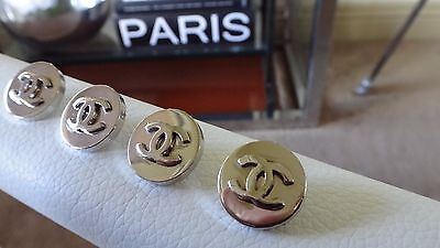 CHANEL Buttons Polished Silver metal CC Logo - Set of 4