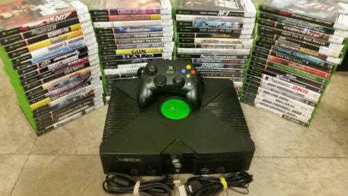 Microsoft Xbox Original Edition Black Console Game System Complete Tested Games
