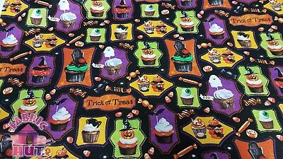 Monster Mash Halloween Cupcake Jack o'lantern Candy Cotton Fabric By The Yard ()