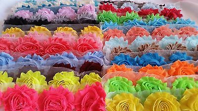 "2.5"" SHABBY FLOWER, wholesale shabby chiffon solid ,ASSORTED PACK shabby trim"
