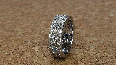 Vintage Tacori Ring Sterling Silver 925 CZ Wide Eternity Band Pierced XO Size -
