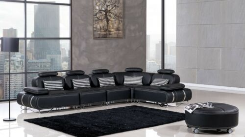 6 Pc Modern Euro Contemporary Black Leather Sectional Chair Corner Ottoman Set