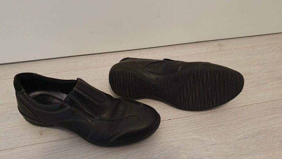 Ecco, Halbschuhe, schwarz, glatt Leder, Schuhe Gr.38 in Schiffdorf