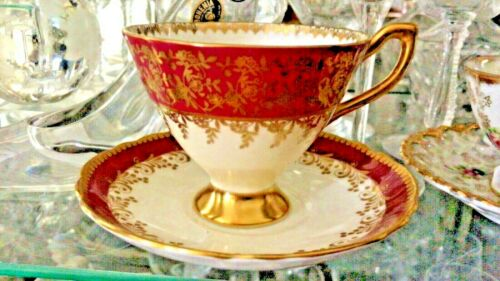 Crown Staffordshire Tea Cup And Saucer, Marroon Red and Gold Fine Bone China