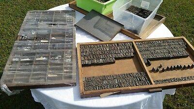 Printing Letterpress Printers Blocks 1500pt Metal Alphabet Antique 3 Drawers