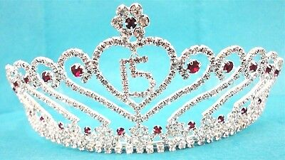 Pink Crowns (Hot Pink Rhinestone Tiara w Charm Sweet 15 Quince Crown C6247-)