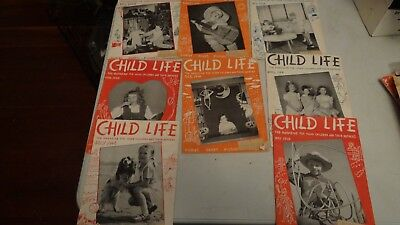 Vintage lot of 8 Issues RARE CHILDS LIFE  Magazine 1948 Halloween FREE SHIP  (Halloween History Animation)