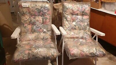 2 Garden Chairs & Padded Cushions brand new cushions still in wrapping