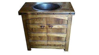 rustic reclaimed wood curved doors bathroom vanity