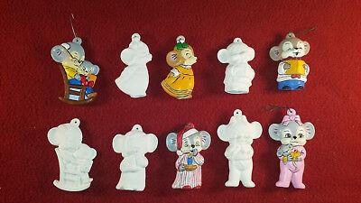 Nighttime Mice Ceramic Bisque Christmas Tree Ornaments 5pc Set Xmas Mouse Decor - Ceramic Christmas Ornaments