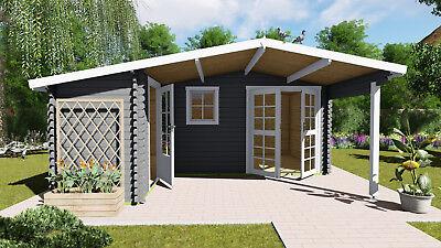 Log Cabin L shape 28mm  5.1mx4.8m Garden Office, UNDER 2.5mFLOOR, SHINGLE TILES