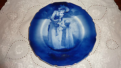 Antique Royal Doulton Frilled Rim Blue Children Wall Plate - Summer Scene