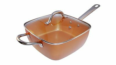 Copper Square Pan,Induction base For Chef Tempered Glass Lid, Round Handle New