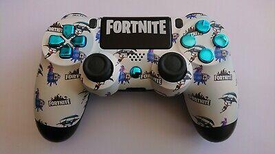 Custom Playstation 4 PS4 V2 Controller 'Fortnite Pattern Small- Blue' (matte)