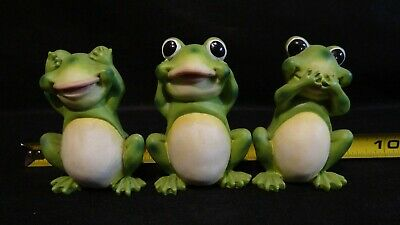 Frog Toad Figurines Collectible Hear See Speak No Evil  See Speak No Evil Frogs