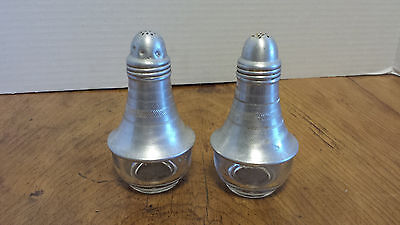 Vintage Hammered Aluminum  and glass Salt and Pepper shakers1950's