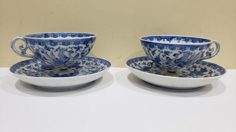 Pair of Antique Japanese Meiji Blue & White Cup & Saucer Sets  by Kato Chubei II
