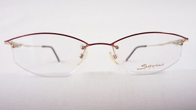 Leichte teilrandlose Brille Fassung für Frauen rot-gold elegant Federbügel Gr. M