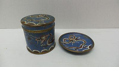 Antique CHINESE Blue Enamel Cloisonne DRAGON Tea/Tobacco Jar Box Ashtray Dish