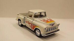 1955-Chevy-Stepside-Pick-up-Blanco-KINSMART-JUGUETE-MODELO-1-32-Escala