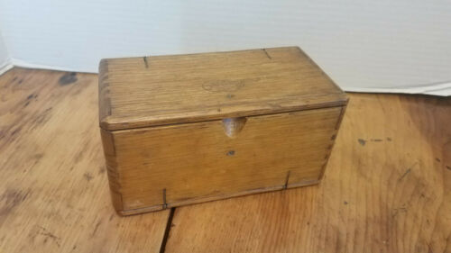Antique Singer Sewing Machine Attachments in Folding Wood Puzzle Tool Box