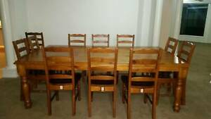Solid Timber extra large dining table and 12 chairs
