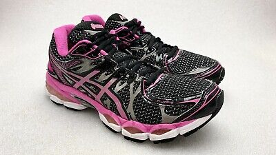 Asics Gel Nimbus 16  Black Pink Mesh Lace Up Athletic Running Shoes Women SZ