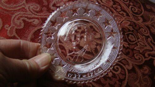 "Crystal Glass George Washington Mini Plate Coaster 3.5"" Moser? Pairpoint Vtg"