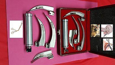 Special Laryngoscope Mac Set 4 Blades 1 Handle Ems Anesthesia Intubation Larynx