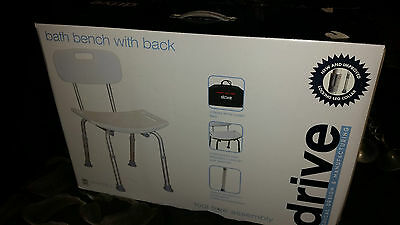 DRIVE MEDICAL #12105KDR-2 BATH BENCH w/ BACK & CARRY BAG BATH SAFETY CHAIR BOXED