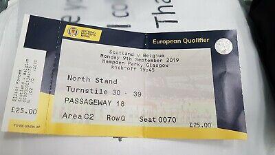 Ticket Scotland Écosse Belgique Belgie Belgium 09/09/2019 Euro 2020