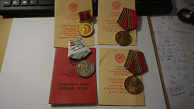 4 x Orden UDSSR Sowjetunion Russland mit Verleihungsurkunden