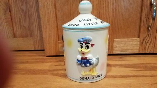 Vintage Disney Mickey Mouse Cookie Jar Donald Duck Lolly Pop Jar 1961 Lollipop