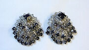 Vintage Black Clip on Earrings
