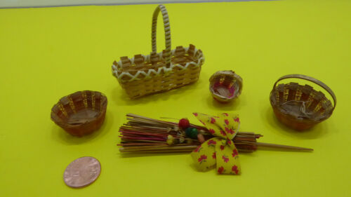 Vintage Dollhouse Miniatures Lot of Woven Baskets and Decor