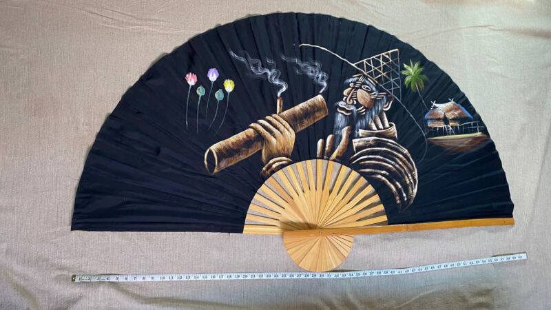Thailand Hand Painted Fan of Man Smoking, Vintage