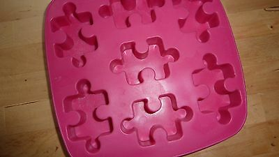 PINK Ice Cube Tray PUZZLE Square Tray Container Fun Chic Modern Retro...