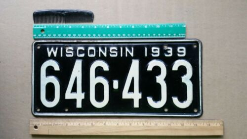 License Plate, Wisconsin, 1939, 646 - 433