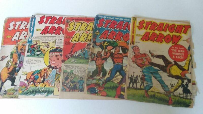 1951-1954 Vintage Lot (5) Straight Arrow Comic Books #17,23,31,32,33 Nabisco