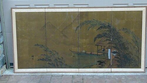 ANTIQUE JAPANESE WATERCOLOR ON GILT PAPER PAINTED 4 PANEL SCREEN LANDSCAPE SCENE
