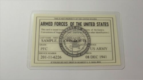 Geneva Convention identification card U.S. Army, Navy, Air Force, Marines & USCG