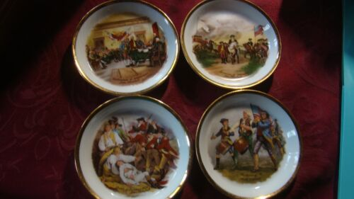 "Revolutionary Unique Fine China Miniature Plates Coaster 4"" 4 Scenes"