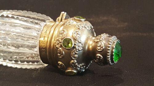 Antique Jeweled Blackington Sterling Silver LayDown Perfume Bottle