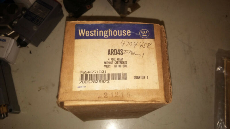 WESTINGHOUSE ARD4S NEW IN BOX 4P RELAY 120V DC COIL NO CARTRIDGES SEE PICS #B18