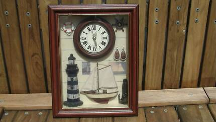 Clock - Maritime themed in glass frame Baldivis Rockingham Area Preview