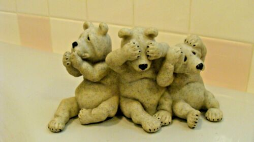"2001 Quarry Critters ""UH OH"" 3 Polar Bears See No Hear No Speak No Evil"