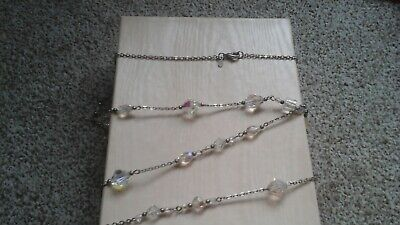 Kirks Folly clear crystal bead necklace silvertone